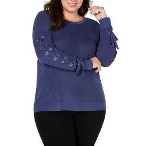 INC Plus 1X Inkberry Blue Knit Open Sleeve Sweater
